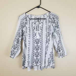 LOFT Petites l Mixed Design Blouse Long Sleeve